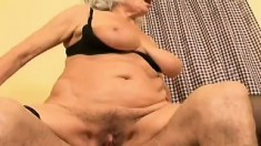Naughty granny seduces a young guy and has him banging her needy cunt