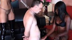 Ebony skank Cashmere toys with her mistress' white cock slave