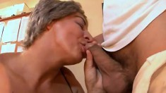 Mature lady Francsina has some massive tits and rides dick well