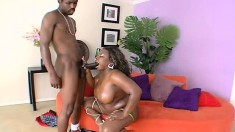 Big breasted Mahogany Rain fully enjoys her time with a black stud