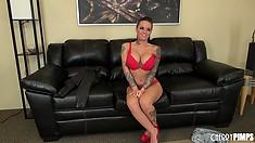Christy Mack tweaks her hard nipples before taking off her panties
