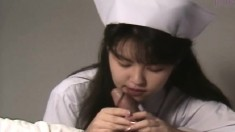 Lustful Japanese nurse worships and rides a fat cock with sheer desire