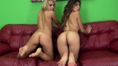 Heather and Kendall drop their clothes and engage in hot lesbian sex