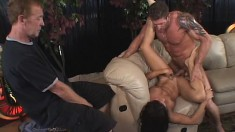 Elegant brunette wife enjoys a hard fucking and her horny man watches