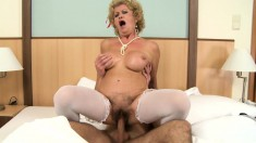 Stunning GILF begs a young stud to lick her insatiable hairy cunt