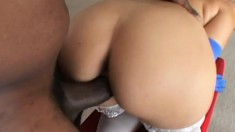 Curvaceous blonde in white stockings explores her lust for dark meat