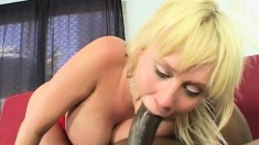 Blonde big-boobed babe Carly Parker gets carnal with a black dude