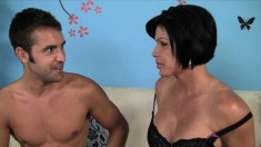 Busty MILF Shay Fox gets a young stud to blow and bang her hole