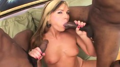 Nasty blonde wildly fucks two black sticks and swallows their juices