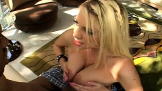 Slutty blonde chick is eager to bounce on this dude's fat cum gun