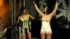 Busty babe is tied up and tortured by spanking and tying up her tits