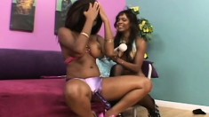 Busty Candace and Envy toy fuck and lick before using a strapon