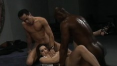 Slutty La Tigra needs two dicks to get off and gets her ass nailed, and a DP