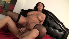 Huge tit, bald cunt Eva Notty blows and screws, then titty fucks him