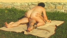Curvaceous mature woman Eva gets pounded hard by the gardener outside