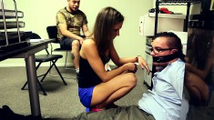 Slender blonde wife ties up her husband and gets banged by another guy