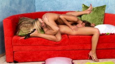 Two magnificent blondes devouring each other's holes on the red couch