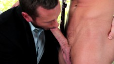 Hot business guys drop their clothes and enjoy anal sex in the office