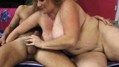 Mature blonde fatty titty fucks and sucks, then gets her cunt plowed