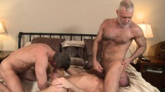 Three horny men swallow each other's hard dicks and butt fuck in the bedroom