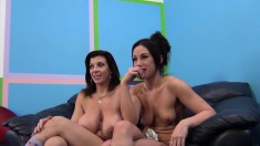 Delightful babes get together for an exciting cock sucking challenge