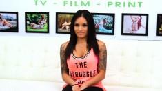 Tattooed Brunette With Big Hooters Natalia Mendez Enjoys A Long Stick