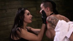 Kinky brunettes Alby Rydes, Mila Blaze, Isa Mendez engage in a wild BDSM encounter