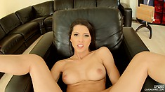 Sexy brunette MILF Anne rubs her nub and toys her sweet shaved snatch