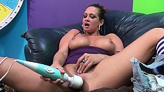 Tory Lane takes his spunk in her mouth and on her chin, dildo time