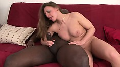 She rides him, she blows him, then he drills her and cums in her mouth