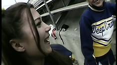 Sexy cheerleaders Nina and Sabrina get anal slammed by a hung fucker