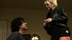 Stuffing a string of anal beads into blondie's ass and then fucking her twat