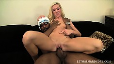 Skinny blonde with a perky ass and tiny boobs finds it hard to resist a black cock