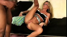 Wild blonde cougar Chelsea Zinn invites two black studs to pound her needy holes