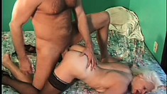 Blond grandma sucks his cock then gets on her knees for doggy fucking