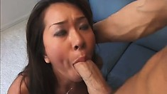 Asian babe with pretty eyes gets her tight butt ready for a big one