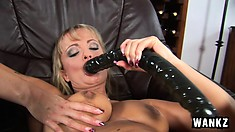 Playful busty blonde bitch Cordula becomes very excited at the end