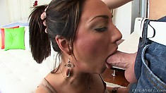 Sloppy brunette babe drools all over a big cock in a POV blowjob