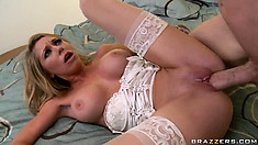He titty fucks her and then shoves it in her bald cock pocket