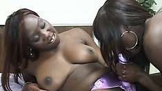 Gorgeous easy-to-look at chocolate ginch gets fucked by strap-on