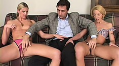 Blonde cuties Ashley Long and Fiona Cheek share a huge rod on the sofa