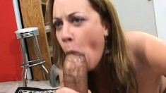 Sexy brown haired babe can't even fit these dicks in her mouth