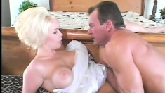 Bald cunt blonde gets a thorough working over in all her fuck holes