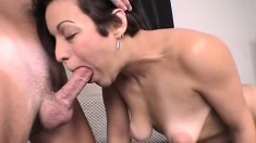 Short haired beauty Gemma adores having some man meat to suck on