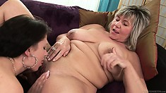 Old hooker likes to lick the nipples and the clit of a young girl