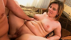 She gets drilled from behind and goes doggy style before missionary