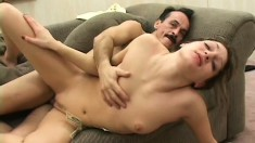Comely big-breasted woman in black panties fucks old dude for money