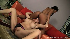 Horny blonde MILF can't resist an exotic girl's tight naked body