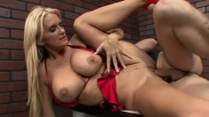 Bootylicious blonde with awesome tits gets face-fucked gently