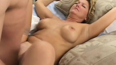 Horny MILF thinks she's got what it takes to please two cocks